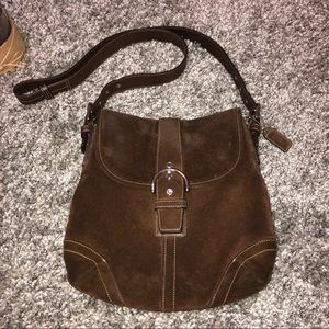 Coach 9482 Chocolate Brown Suede Leather Crossbody